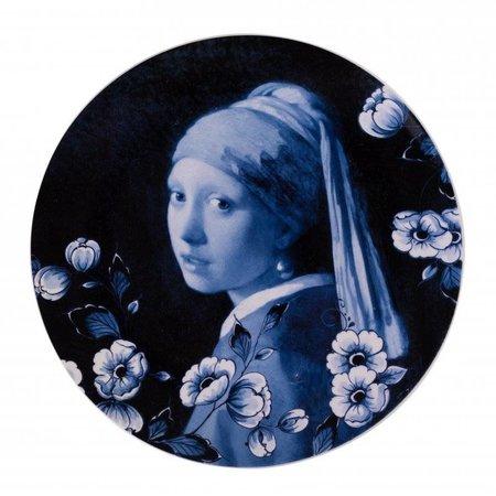 Tableau noir avec fille avec la perle
