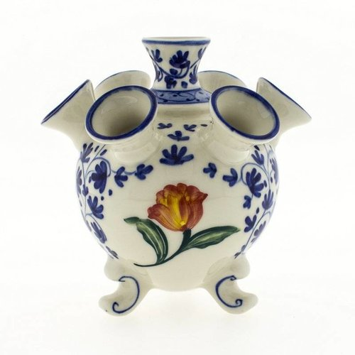 Round Delft blue tulip vase with tulip