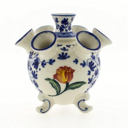 Vase rond en forme de tulipe bleue de Delft avec tulipe