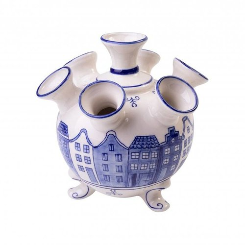 Round Delft blue canal houses tulip vase