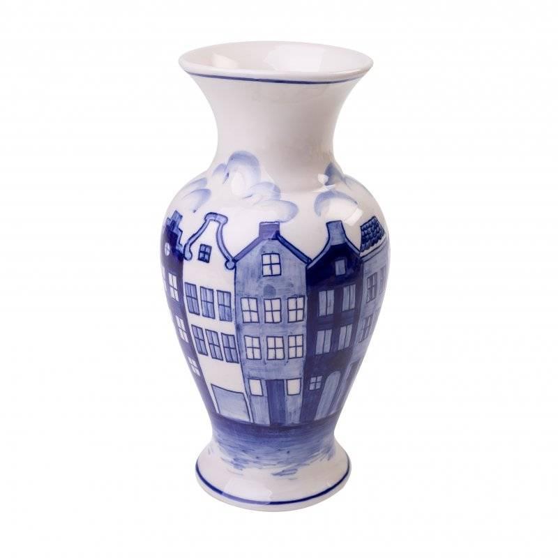 Delfts Blauwe Vazen.Delfts Blauwe Grachtenpanden Vaas