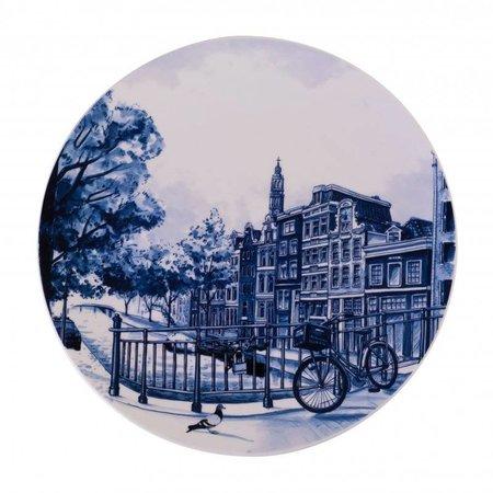 Bord met grachtenpanden Delfts blauw