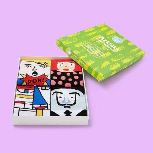 4  moderne kunstenaars sokken geschenkdoos