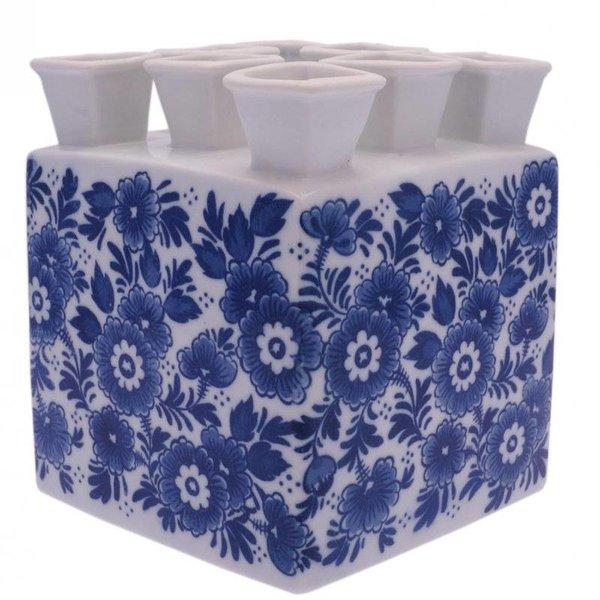 Vase carré en forme de tulipe bleue de Delft