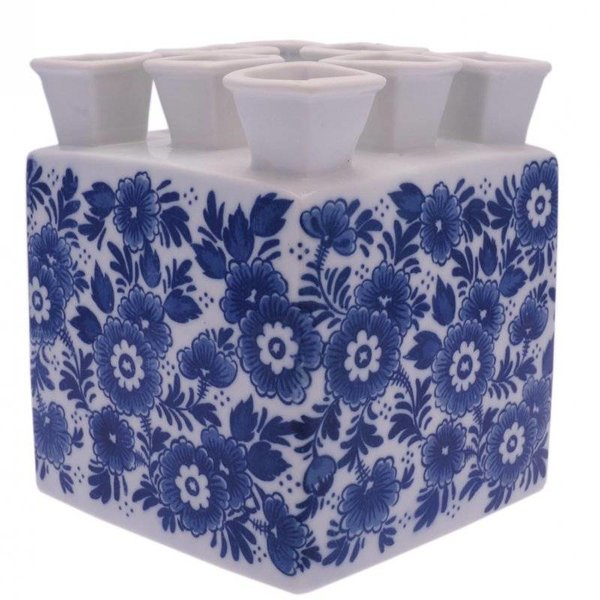 Vierkante Delfts blauwe tulpenvaas