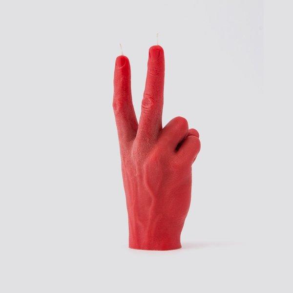 Hand kaars vrede rood