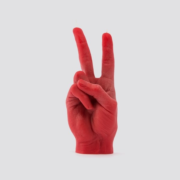 Main bougie paix rouge