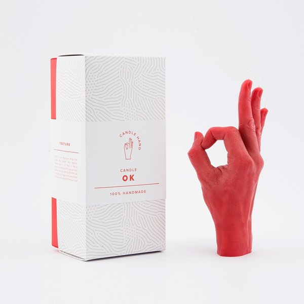 Hand done candle well red