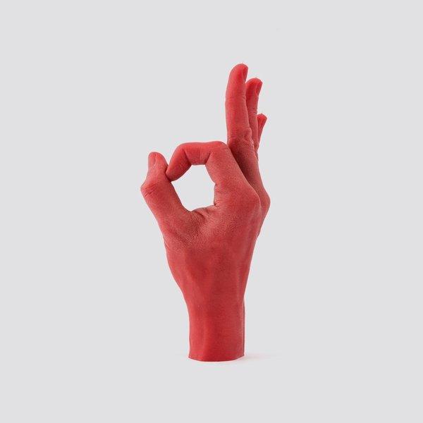 Hand kaars goed gedaan  Rood