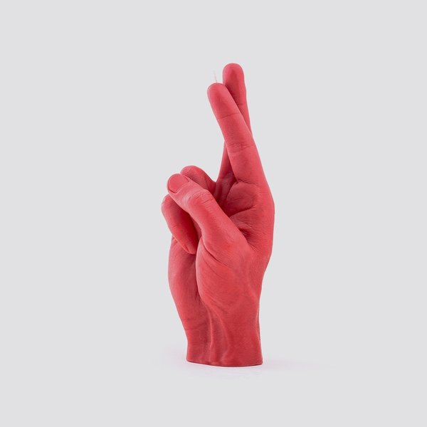 Hand kaars veel geluk rood
