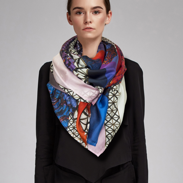 Mondriaan sjaal XL 100% zijde