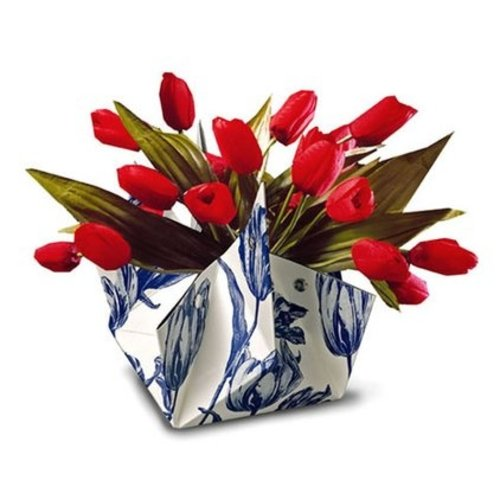 Folding vase Delft blue tulips