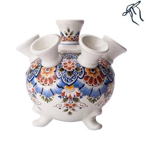 Tulipe vase peint à la main sur pieds