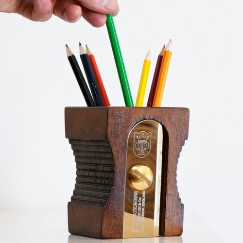 Giant pencil sharpener pen holder