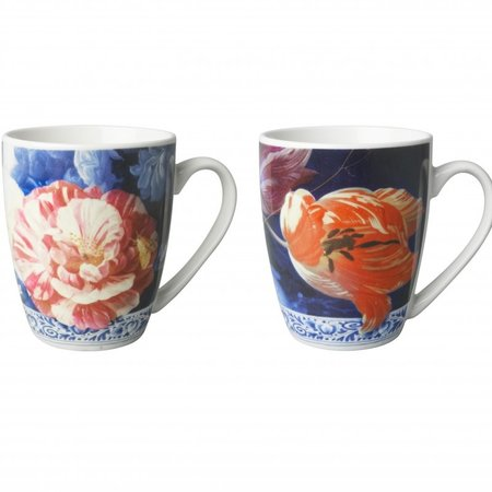 2 Golden century mugs with flowers