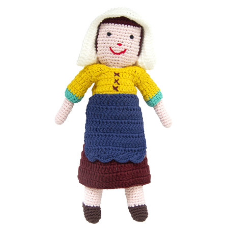 Melkmeisje van Vermeer gehaakte pop