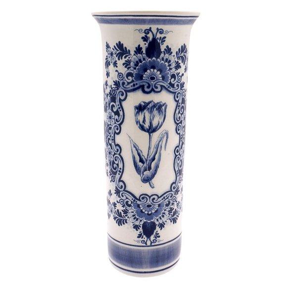 Cilindervaas Delfts blauw met tulp