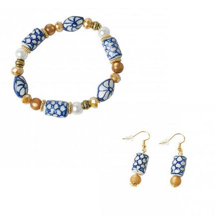 Vermeer jewelry set Delft blue