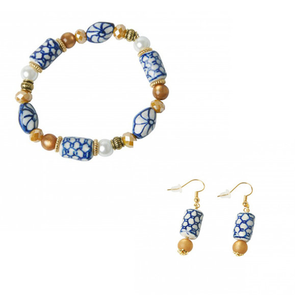 Vermeer jewelry set Delft blue