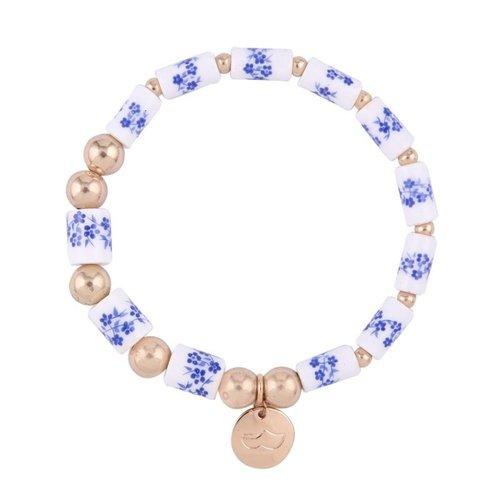Armband Delfts blauw met bedel klompje