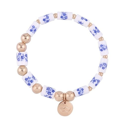 Bracelet Delft blue with charm clog