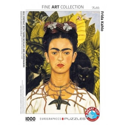 Puzzel Frida Kahlo zelfportret met Hummingbird