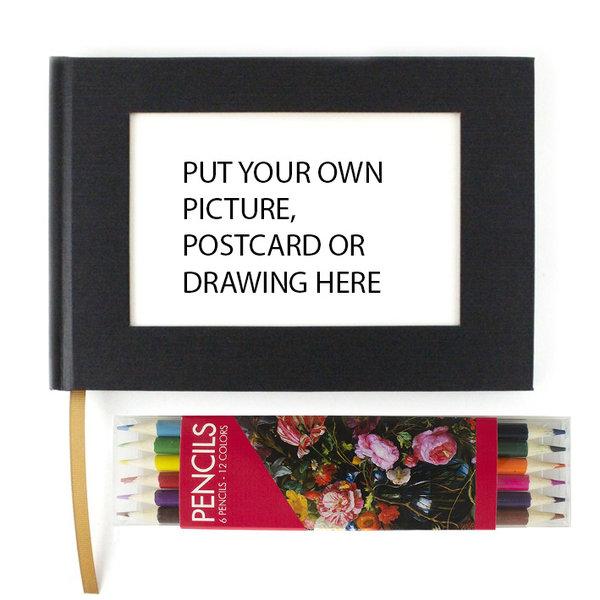 Kleurpotloden en schetsboek