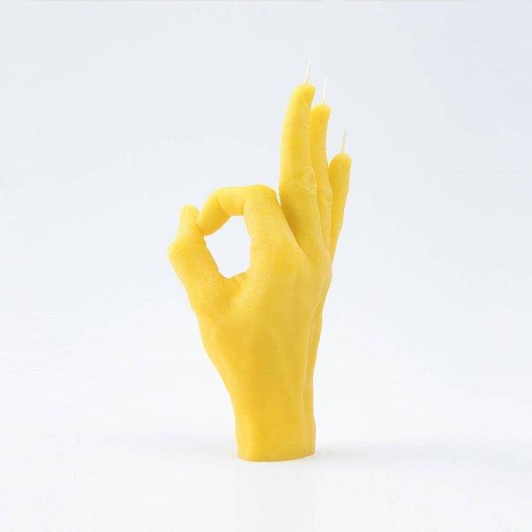 Hand kaars goed gedaan  geel
