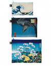 3 Reißverschlusstaschen Hokusai die große Welle
