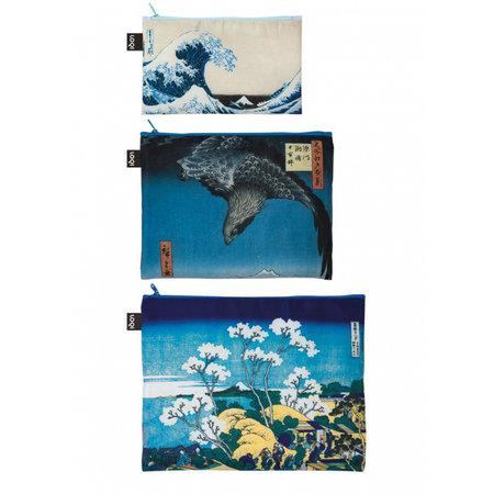 3 poches zippées Hokusai la grande vague