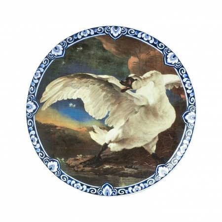 Large plate with the endangered swan Rijksmuseum