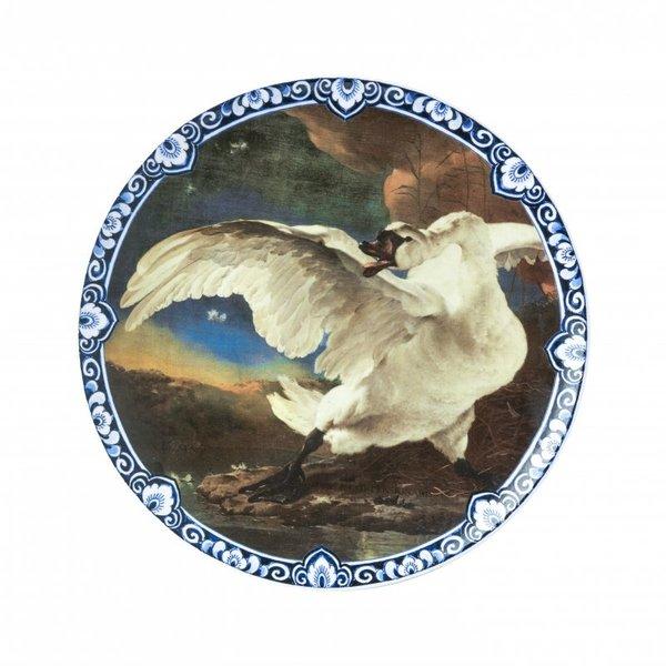 Großer Teller mit dem gefährdeten Schwan Rijksmuseum