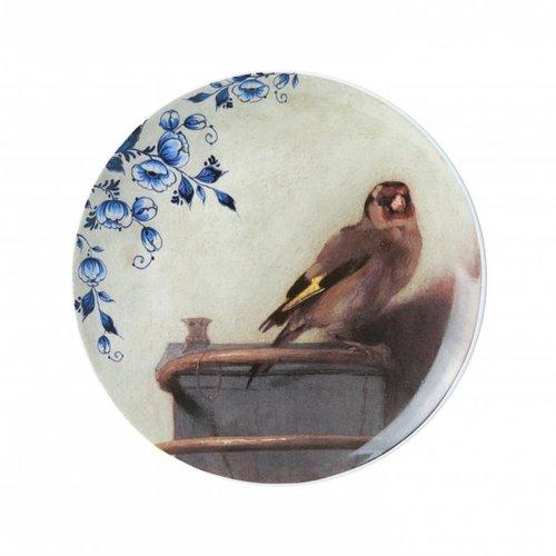 Assiette chardonneret avec bleu de Delft