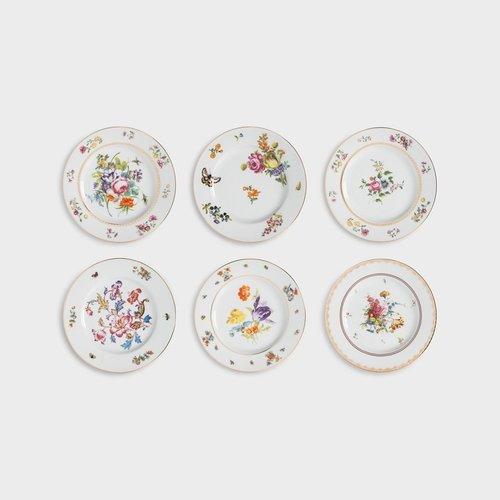 6 assiettes à dessert / petit-déjeuner différentes fleurs hollandaises