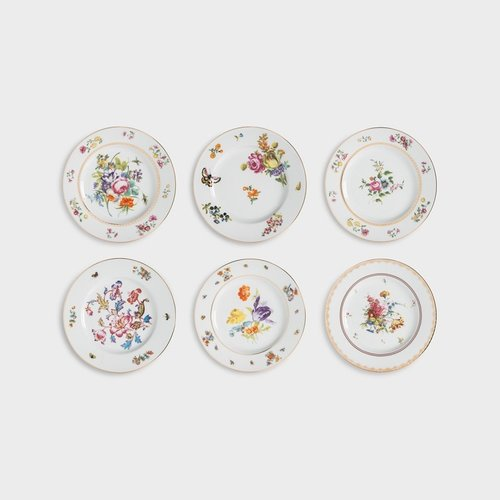 6 different Dutch flowers dessert / breakfast plates
