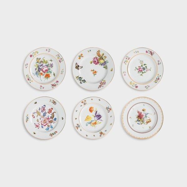 6 different Dutch flowers dessert / breakfast plates