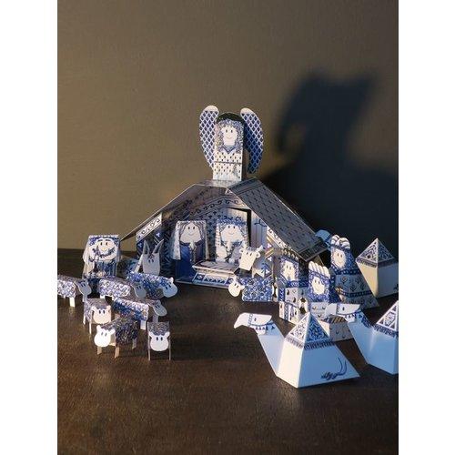 Crèche de Noël bleu de Delft