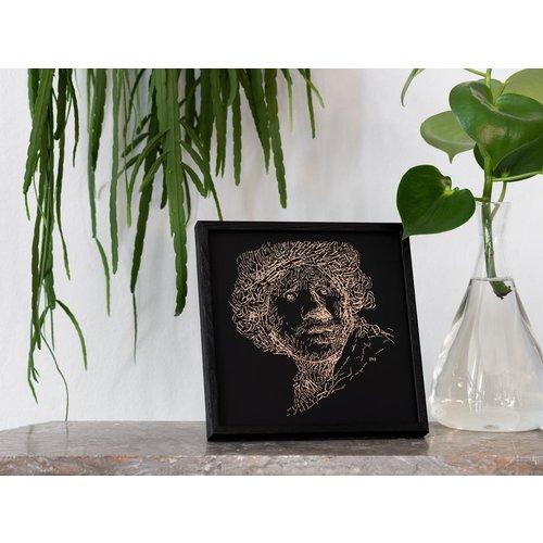Rembrandt Copper Black Print dans un cadre en bois noir, type 2