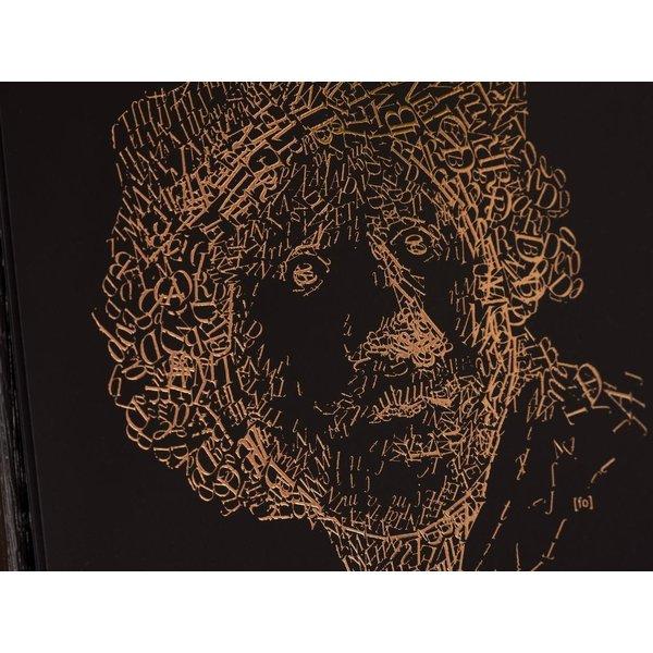 Rembrandt koperzwarte print in zwarte houten lijst, type 2