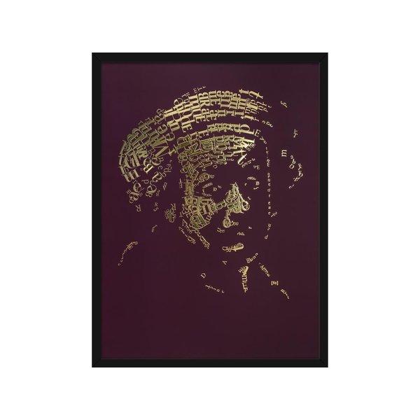 """Rembrandt Gold Print """"Briefhoofd"""", type 1, bordeauxrood typografisch zelfportret, metallic 3D foliedruk"""