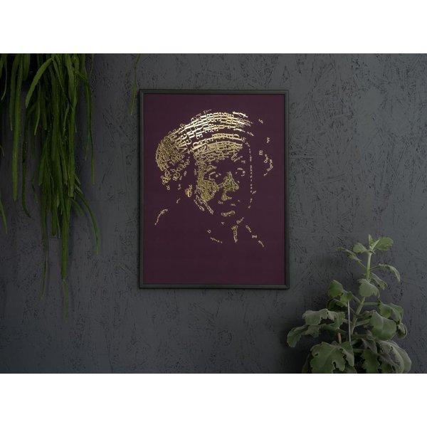 """Rembrandt Gold Print """"Letterhead"""", type 1, bordeaux red typographic self portrait, metallic 3D foil print"""