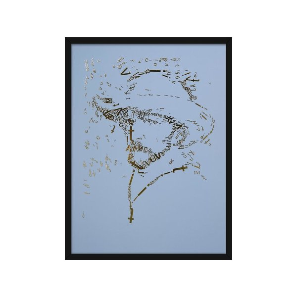 "Vincent van Gogh Golddruck ""Briefkopf"", Typ 2, babyblau in mattschwarzem Aluminiumrahmen"