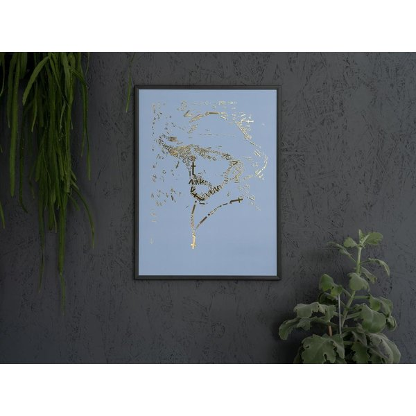"Vincent van Gogh Goudopdruk ""Briefpapier"", type 2, babyblauw in matzwarte aluminium lijst"