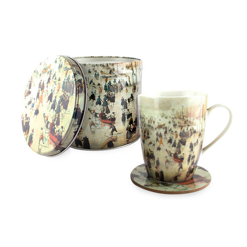 """Cup and coaster in biscuit tin """"Avercamp winter landscape"""""""