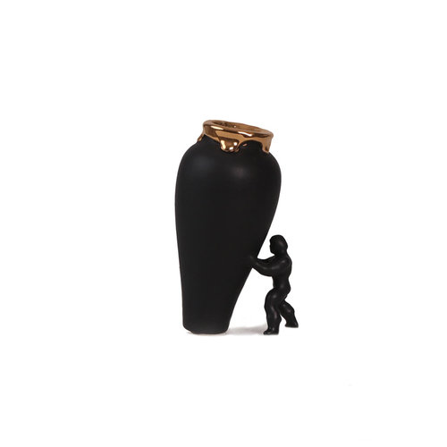 Superhero vase small matt black with gold