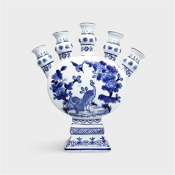 Tulpenvaas Delfts blauw  porselein met 5 tuiten  en pauw