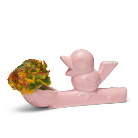 Vase voleur de fleurs rose