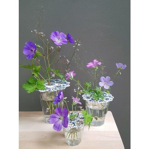 Delftblauwe bloemenroosters kaart