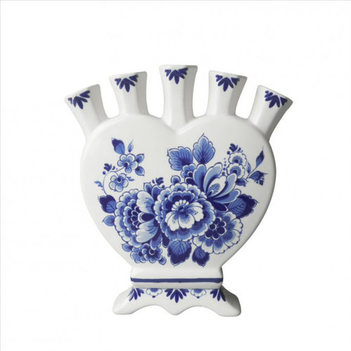 Vase tulipe forme coeur bleu Delft