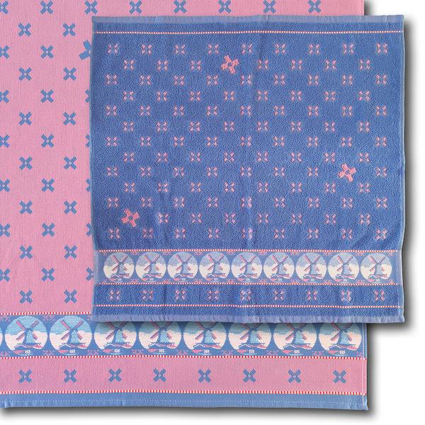 Theedoek en handdoek  Woven Windmill pink